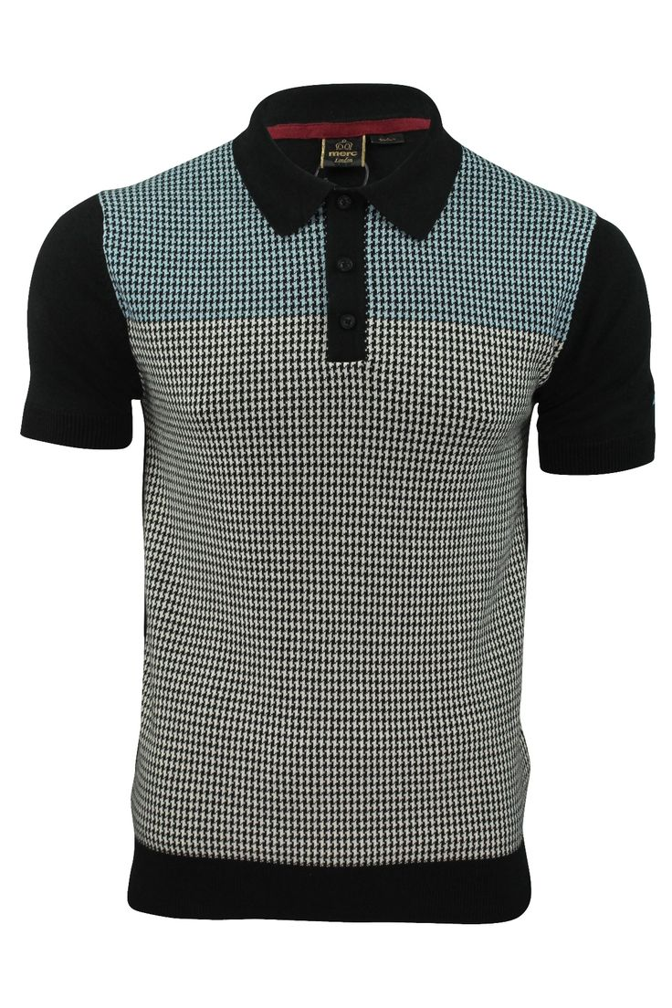 Mens-Knit-Polo-Shirt-by-Merc-Parish-Dog-Tooth-Check