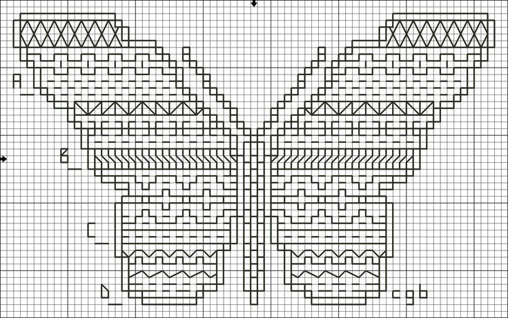 Cross Stitch Charts | ... Four Back Stitch Pattern - Free Butterfly Four Back Stitch Chart