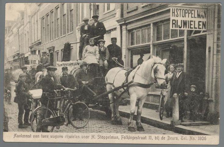 prentbriefkaart van  rijwielhandel H. Stoppelman in de Folkingestraat, Groningen, ca. 1917