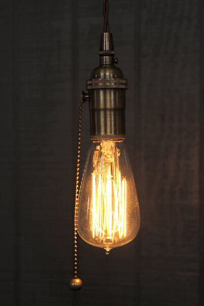 Industrial Bare Bulb Pendant Light, Pull Chain Socket Lighting w/Edison Bulb & Vintage Antique Style Cloth Cord, Minimalist Hanging Fixture on Etsy, $78.24 CAD