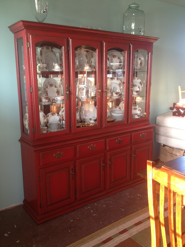 Antiqued Red China Hutch. Dining Room.