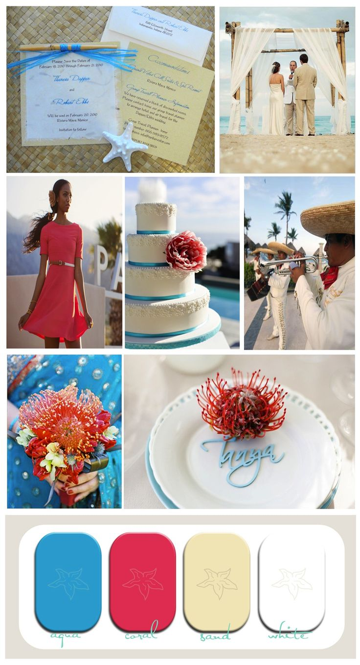 17 best images about beach wedding color schemes on for Coral and turquoise wedding ideas