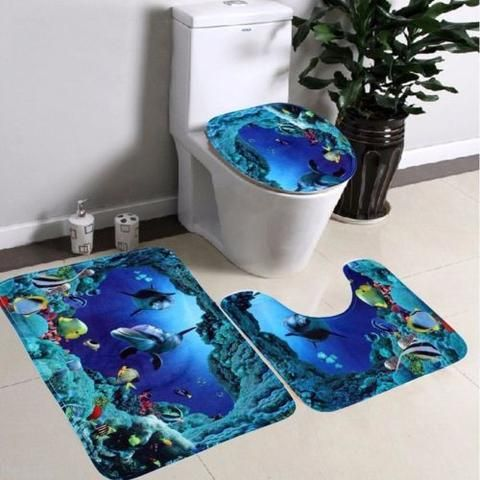BD 3pcs set NEW Underwater World Pedestal Rug Bath Mat Lid Toilet Seat  Covers. 17 Best ideas about Bd Toilette on Pinterest   Badezimmer  ndern
