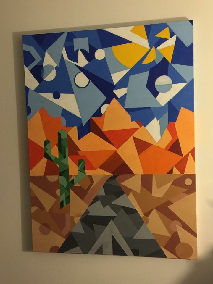 The Long Drive Home (2014)  Dry Acrylic / 36x40 This was a commission piece I did which represents taking a drive through the desert from Arizona to California #abstractart #geometricalabstract #desertart