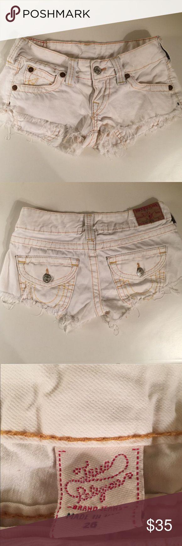 True Religion size 26 off white jean shorts True Religion size 26 off white cut off jean shorts. True Religion Shorts Jean Shorts