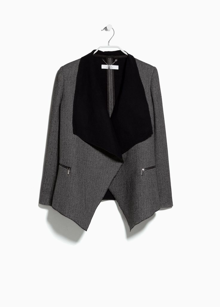 Chaqueta lana solapas - Mujer | MANGO