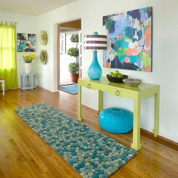 """Vibrant Entryway featuring custom canvas art """"Bliss Like This"""" by Flora Bowley for GreenBox Art + Culture"""