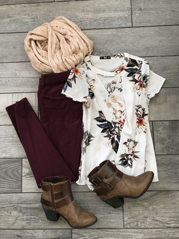 You guys! I'm dying over here, waiting for the weather to get cooler! Here's another outfit I put together, and am eagerly waiting to wear out! Floral top: Here Maroon skinnies: Here Similar bootie… #winterfashion