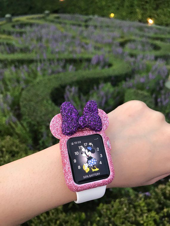 watch 81a3d 502ba Apple Watch case Mouse Ear Pink Glitter with Purple Big Bow - disney ...