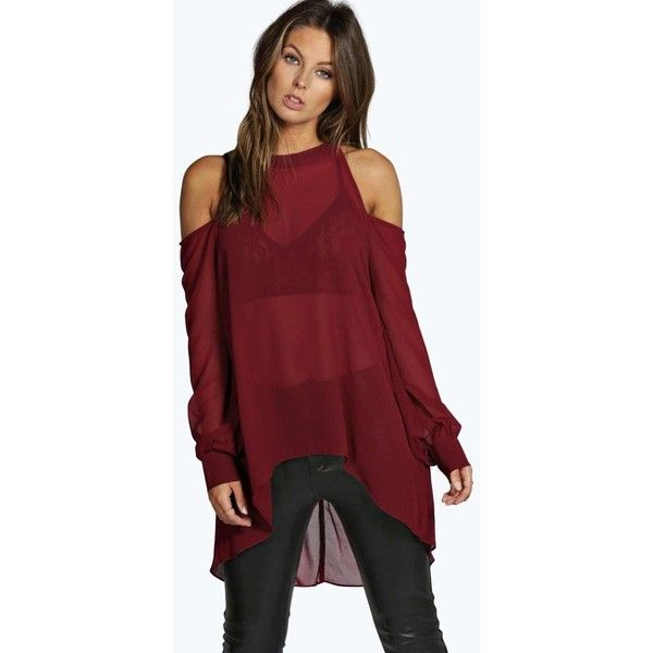 Boohoo Isabelle High Neck Cut Out Shoulder Blouse ($28) ❤ liked on Polyvore featuring tops, blouses, aubergine, bralette crop top, off the shoulder crop top, crop top, red lace bodysuit and lace blouse