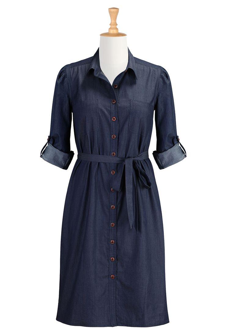 Deep Indigo Chambray Shirtdresses Button Front Retro
