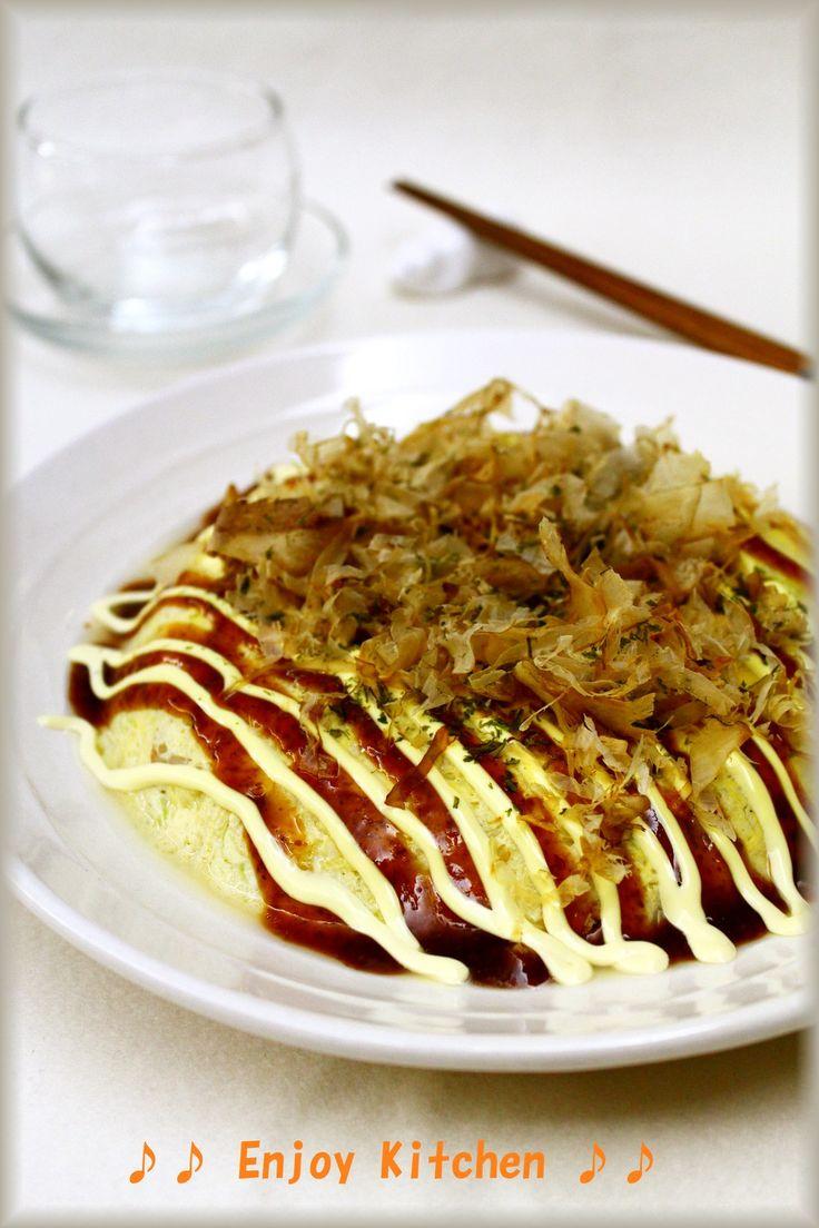 レンジで簡単♪粉なし!豆腐入りお好み焼き by EnjoyKitchen