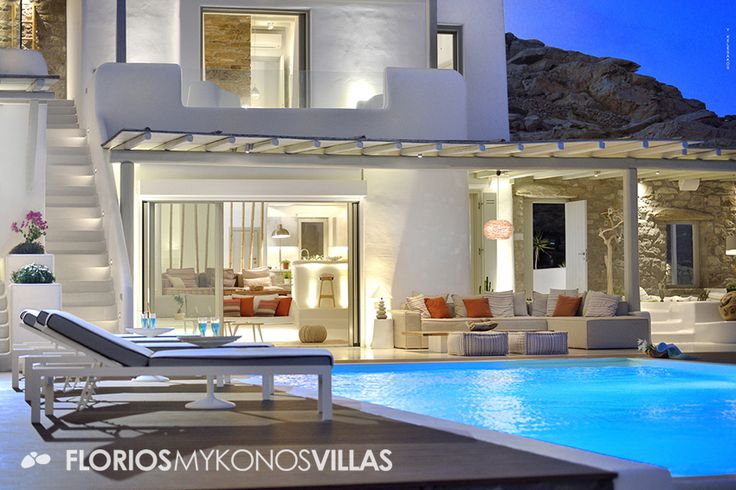 The large private swimming pool of 6x12sq.m. with its 4-person Jacuzzi, is surrounded by green landscape and its continuance is the deep blue sea (infinity pool). FMV1495 Luxurious Villa for Rent in Elia, Mykonos island Greece. http://florios-mykonos-villas.com/property/fmv1495/