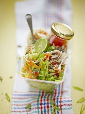 Fill your lunch box with this spicy Asian inspired Firecracker Chicken Noodle Salad from Jamie Oliver a great lunchtime way to use up leftover chicken.