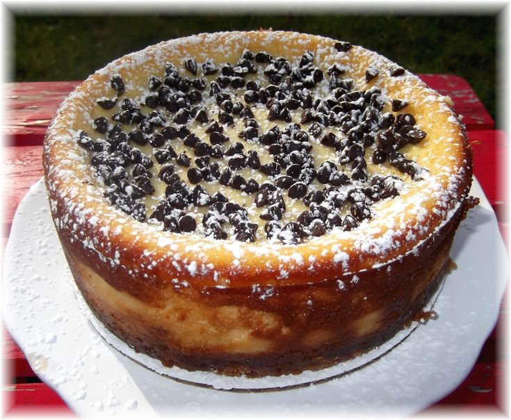 Cannoli Cheesecake! This is a great Italian Cheesecake. You can taste the ricotta and the texture is light and soft. However, I prefer NY Cheesecake that is made with cream cheese and is more dense.