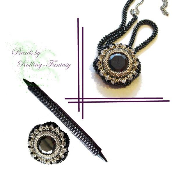 Kettenanhänger & Haarspange mit Swarovski-Steinen von Beads by Rolling-Fantasy auf DaWanda.com