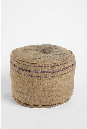 burlap pouf: Super cute!  I have a whole pile of coffee bean bags I was given from a local roaster.  I think I may have one of these soon