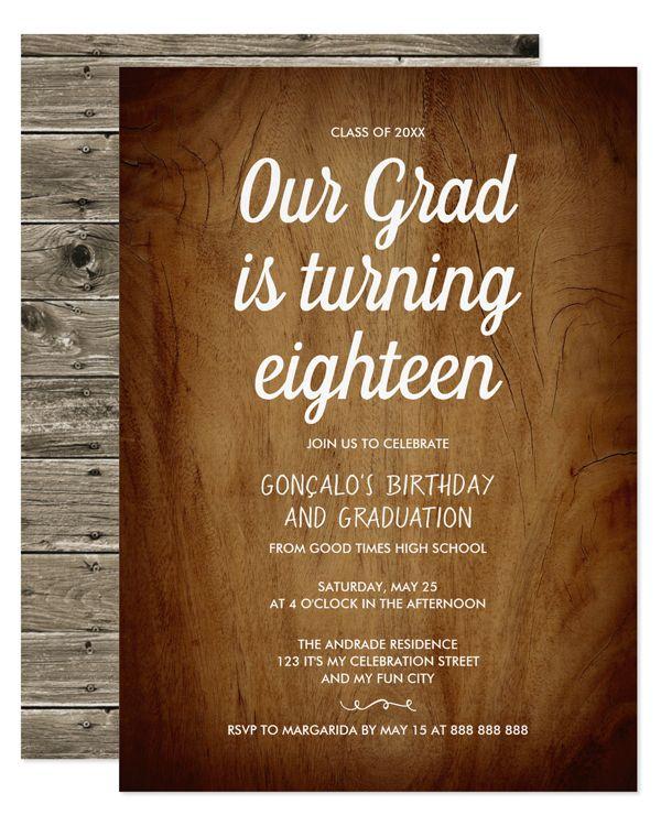 Combined Graduation 18th Birthday Party Rustic Invitation Zazzle