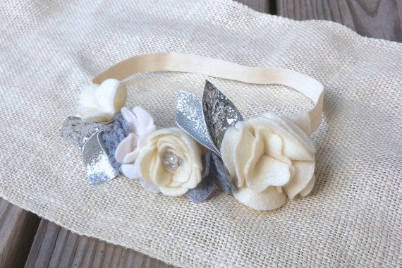 Felt Flower Mini Crown // White Grey  Glitter by fancyfreefinery, $23.50