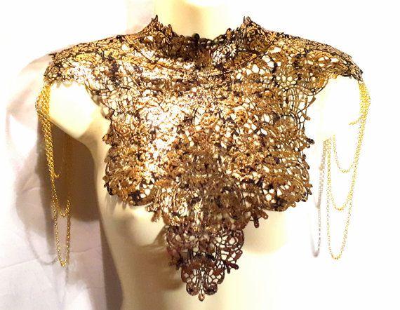 Black Gold metallic lace high collar shoulder door WhiteLotusCouture