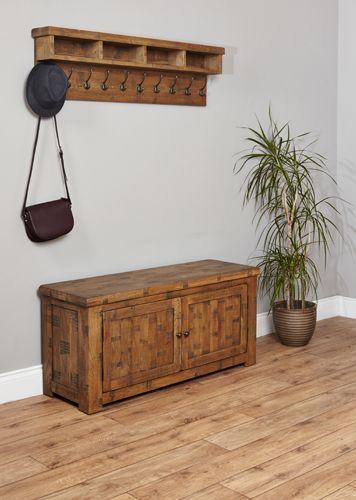 Rough Sawn Oak Shoe Storage Bench #wood #oak #furniture #sideboard #bench #shoes #cupboard #storage #home #interior #decor #bedroom #hallway