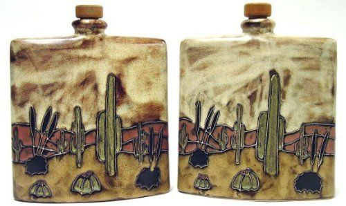 "MARA STONEWARE COLLECTION - 24 Ounce Collectible Liquor Flask Decanter - Cactus Desert Scene Design by Mara Stoneware. $40.95. Original Designs - Hand Etched - Hand Painted - Made In Mexico. Beautiful, Whimsical, Durable Stoneware - Functions As Dining Instruments As Well As Decorative Art. Dimensions: 6.5"" x 2.75"" x 8.5"" - Weight: 2.6 Lbs.. Microwave, Dishwasher & Oven Safe - Lead & Cadmium Free. Unique - Distinctive - Handcrafted - Collectible - Functional Table ..."