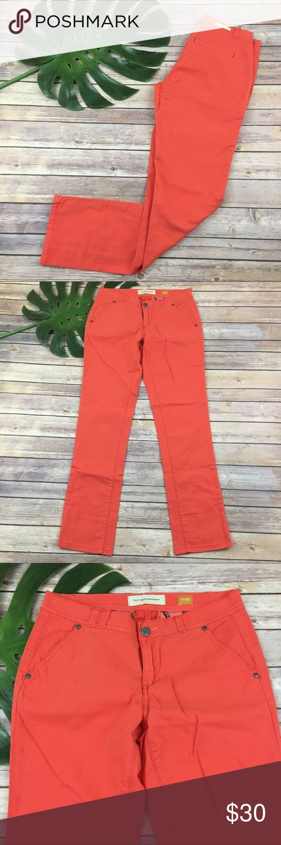 Pilcro coral orange straight leg pants Pilcro Anthropologie Orange skinny jeans, size 27. They are free from any rips or stains. They measure about 31 inches around the waist and the inseam is about 30 inches. The rise is about 8 inches. Anthropologie Pants Straight Leg