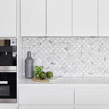 Carrera Marble Fan Shaped Fish Scale Tile Backsplash