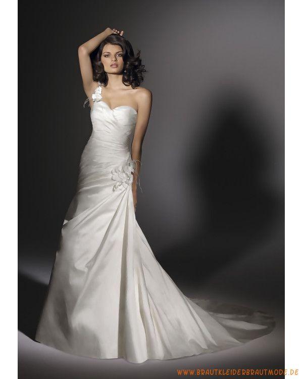 2013 Neue Schlichte Brautmode aus Satin herzförmige Einschulter mit gefaltetem Korsett Schlanker Rock mit der Kapelleschleppe