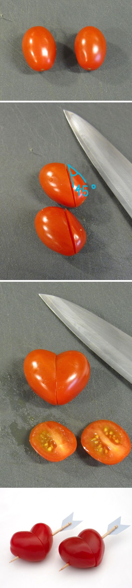 Heart Shaped Cherry Tomatoes. Use a toothpick to resemble cupid's arrow. Cute addition to a Valentine's Day veggie tray!