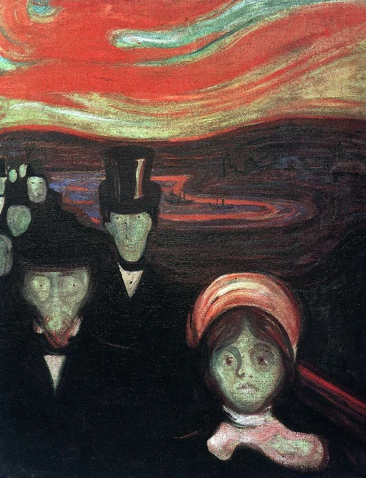 Edvard Munch Anxiety, 1894. This is part of his collection that expressed how his sisters mental illness must have been like.