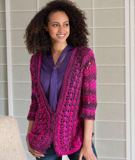 I absolutely love the hues in this Shaded Midnight Cardigan. Leave it to purple and pink to make a superbly radiant crochet cardigan stand out.