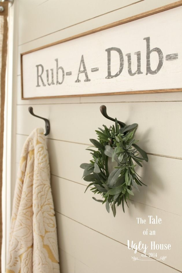 Farmhouse Christmas Tour - Rustic powder room.