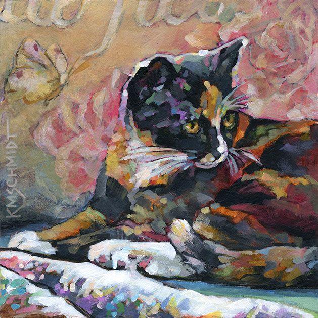 Karen Mathison Schmidt Cat Paintings Petite Belle Fleur About the original: 6 x 6 • acrylic on Gessobord™ • Poway, California