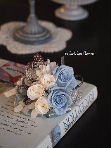 コットンブルーのコサージュ☆|静岡市フラワーアレンジメンント教室&ブーケサロン レラブルー rella-blue flower