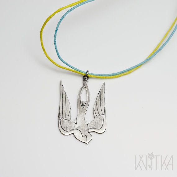 Sterling silver trident pendant stylized bird by KvitkaMargo