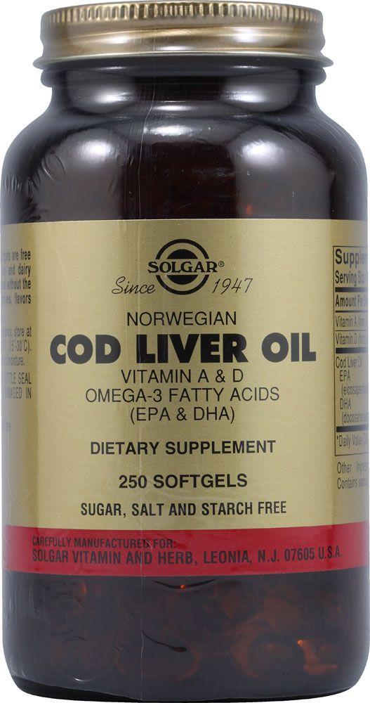 Aceite de hígado de bacalao Fuente de vitaminas A y D y de los Ácidos Grasos Omega 3 EPA y DHA.  http://www.solgarsuplementos.es/nav/productos/productos/p_vitaminaA_D/Aceite_Higado_bacalao_Capsulas_blandas.html