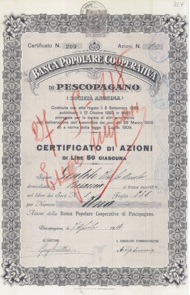 BANCA POPOLARE COOPERATIVA DI PESCOPAGANO - #scripomarket #scriposigns #scripofilia #scripophily #finanza #finance #collezionismo #collectibles #arte #art #scripoart #scripoarte #borsa #stock #azioni #bonds #obbligazioni