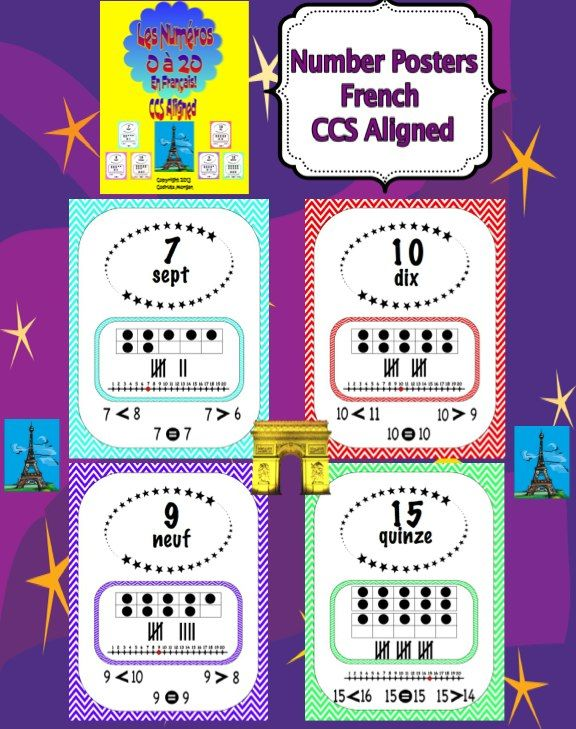 Number posters from 0 to 20 in chevron multi colors. Each number poster includes: number symbol, number word in French, ten frame, tally marks, number line, >, =, and <. (greater than, equals to, less than). Great to place in a pocket chart and teach mathematical concepts using a visual aid during Calendar Time. Excellent addition to a French Immersion Program or regular French class. White frame by Crofts's Classroom.