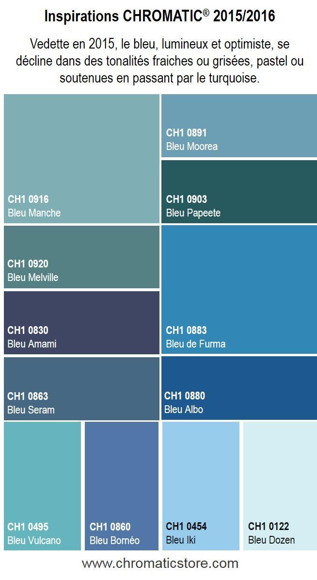 Vedette en 2015, le bleu, lumineux et optimiste, se décline dans des tonalités fraiches ou grisées, pastel ou soutenues en passant par le turquoise. Découvrez l'ensemble de notre offre couleurs sur www.chromaticstore.com #couleurs #bleu #tendances