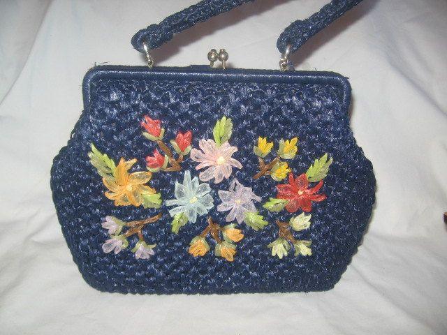 Navy Blue Straw Handbag With Flowers Applique/Japan Vintage Handbags /Purses/Straw Handbags/Retro Handbags/Vintage Straw Handbags-Purses by TheBagLadyVintage on Etsy