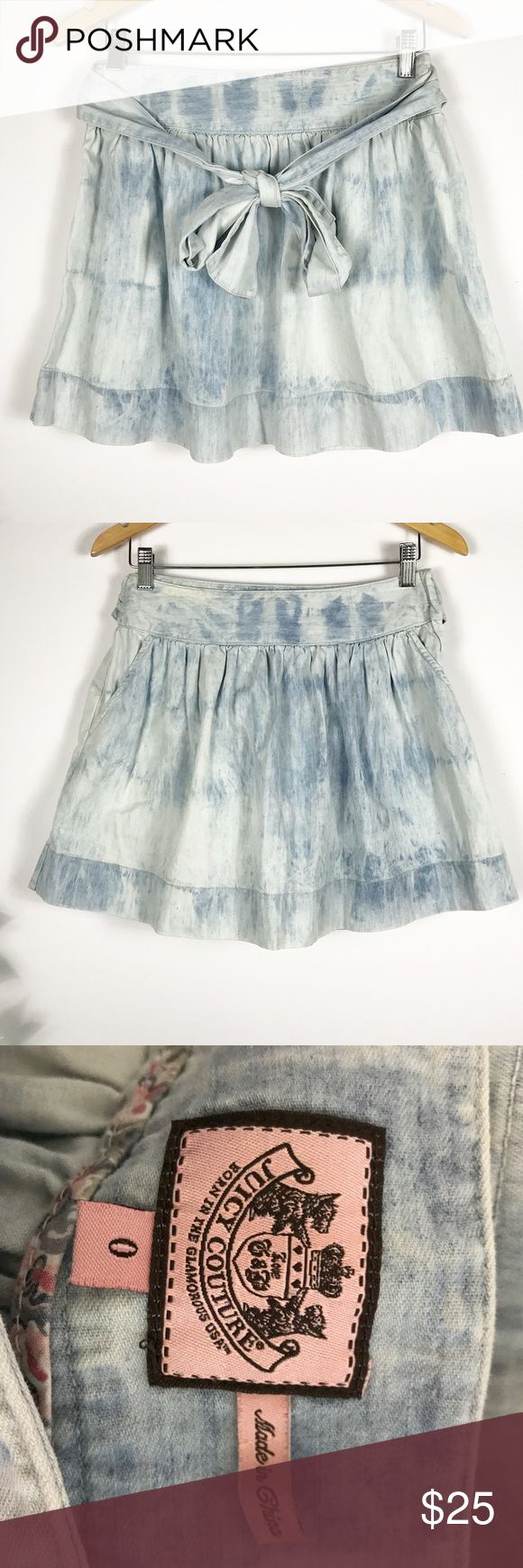 """JUICY COUTURE ACID WASH BOW TIE DENIM SKATER SKIRT JUICY COUTURE ACID WASH BOW TIE DENIM SKATER SKIRT. Side pockets! Perfect condition! Measures approx 14.5""""w 16""""long laying flat size 0 Juicy Couture Skirts Circle & Skater"""