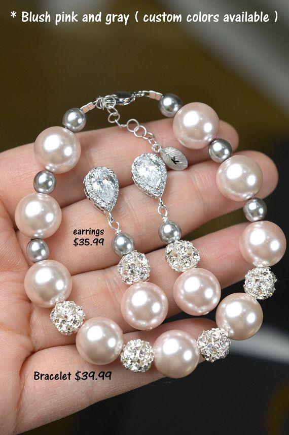 Blush pink bridesmaid jewelry , pink gray earrings ,blush pink,charcoal gray, pink gray wedding jewelry,pink charcoal gray,bridesmaid gifts