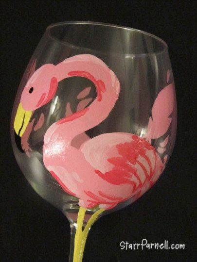 Home Essentials And Beyond Hand Painted Flamingo Wine Glasses