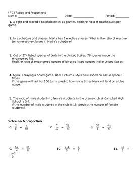 A mostly word problem worksheet on ratios and proportions
