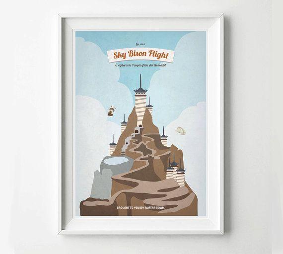 Avatar Retro Travel Poster - Sky Bison Flight - Avatar Poster, Air Temple, Airbending