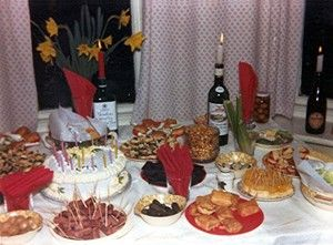 70s party food The candle in a wine bottle!