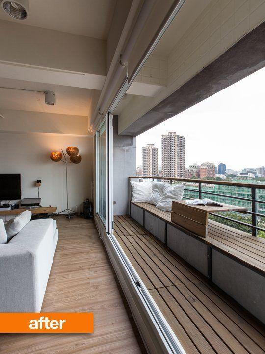 全開口の開放的なベンチ付きベランダ