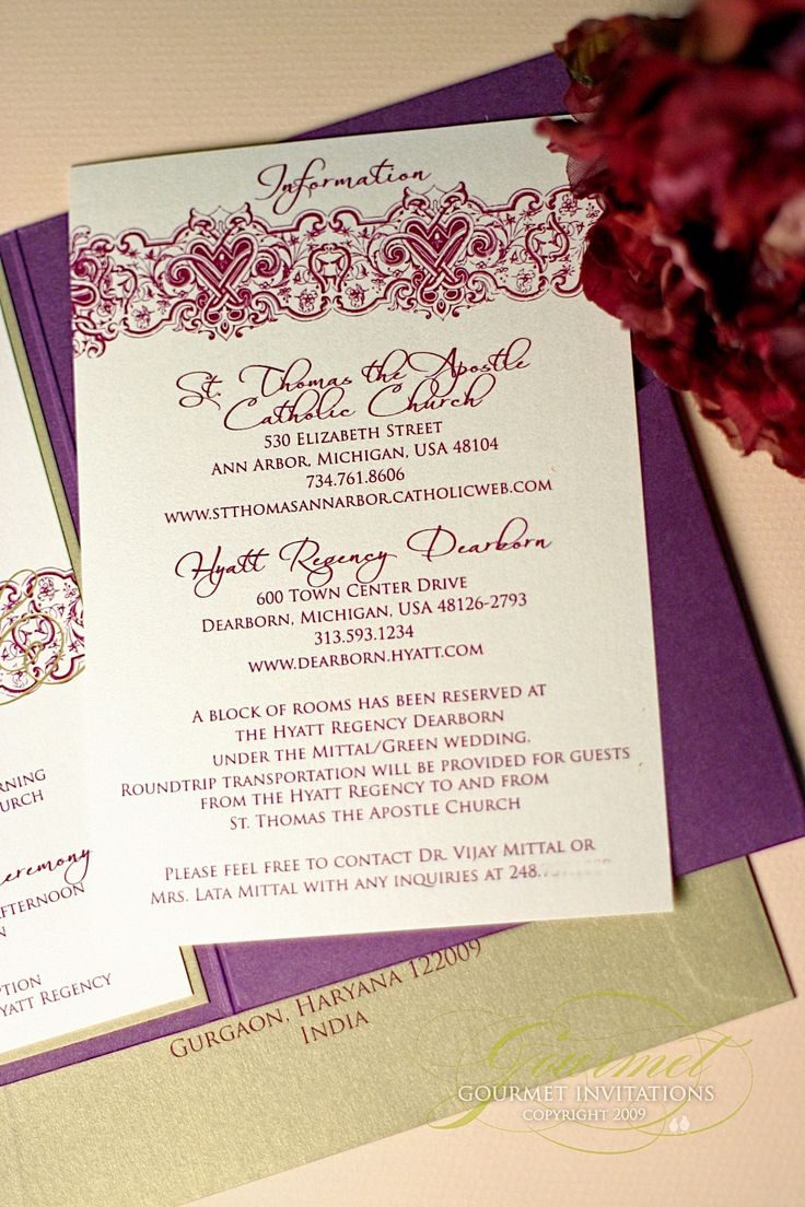 how to put guest names on wedding invitations%0A Pooja   Sean  Indian Inspired Purple and Gold Fusion Invitations