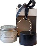 Giftwrapped Gift for Men. Mens Grooming Kit: Unscented Natural Coconut Oil Shaving Soap with Charcoal and Bentonite and Unscented Argan Shea Butter Hand and Body Cream Mens Grooming Basics Gift Set